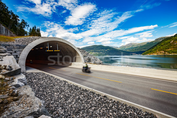 Road in Norway Biker racing on the track in the tunnel Stock photo © cookelma