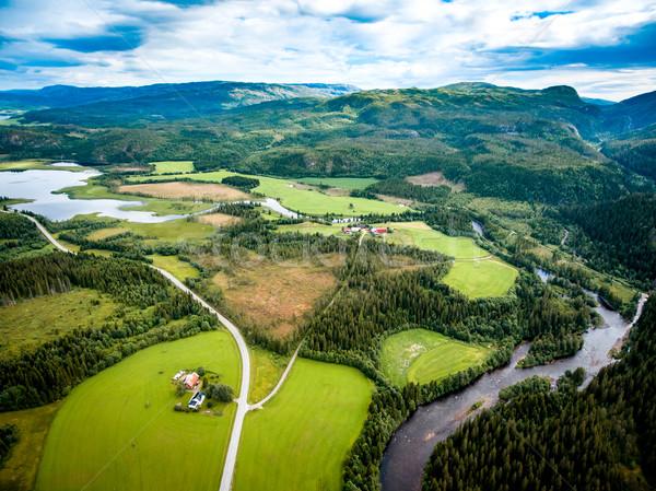 Gyönyörű természet Norvégia légi fotózás természetes Stock fotó © cookelma
