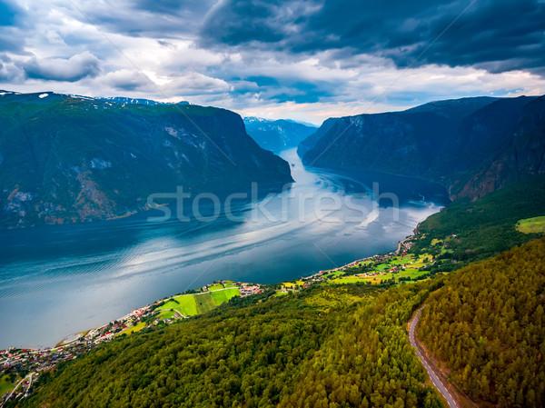 Güzel doğa Norveç gökyüzü su güzellik Stok fotoğraf © cookelma