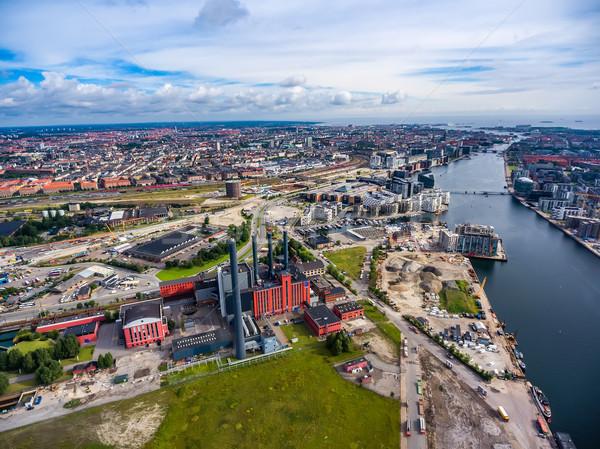 Város légifelvétel Koppenhága elektromos erőmű Dánia kilátás Stock fotó © cookelma