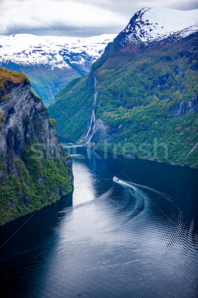 Norwegia wodospad siedem siostry długo oddziału Zdjęcia stock © cookelma
