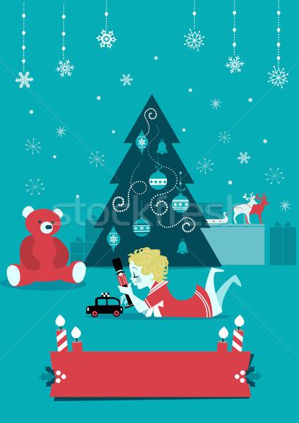 Karácsony gyermek játékok rajz művészet szalag Stock fotó © coolgraphic