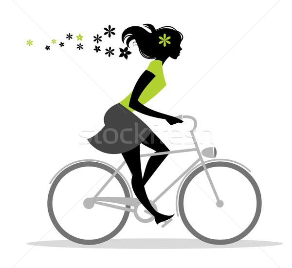Bicikli lány sziluett virágok virág retro Stock fotó © coolgraphic