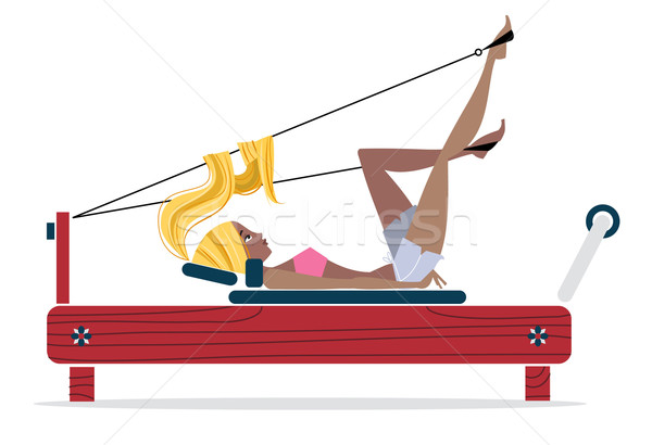 Pilates meisje vector retro illustratie oefening Stockfoto © coolgraphic