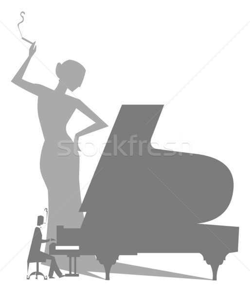 Piano Player Silhouette with woman Shadow Stock photo © coolgraphic