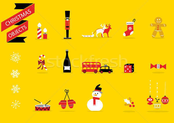 Karácsony játékok díszítések vektor ikon szett rajz Stock fotó © coolgraphic