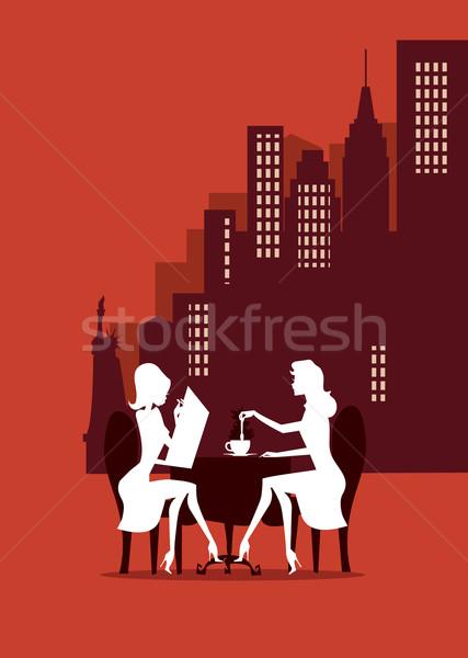 New York reggeli kettő lányok nő megbeszélés Stock fotó © coolgraphic
