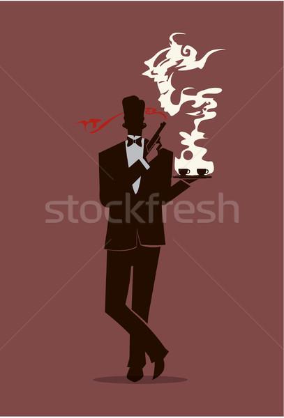 Titkosügynök sziluett kávé illusztráció dohányzás fegyver Stock fotó © coolgraphic