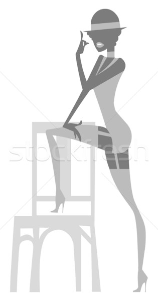 Broadway musical silueta cabaret mujer pie Foto stock © coolgraphic