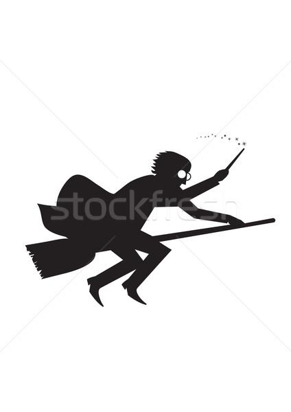 Jongen silhouet vliegen bezem Stockfoto © coolgraphic