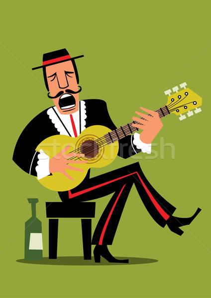 Retro spanyol gitáros művészet rajz Stock fotó © coolgraphic