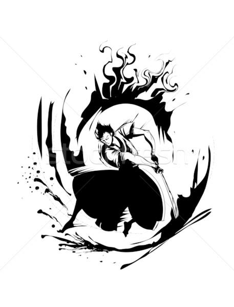 Samuray el çizim Stok fotoğraf © coolgraphic