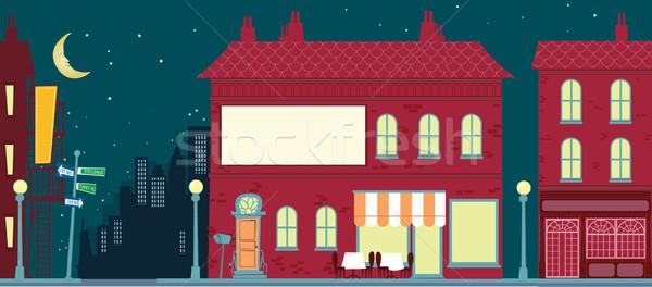 Retro rajz város tájkép utca művészet Stock fotó © coolgraphic