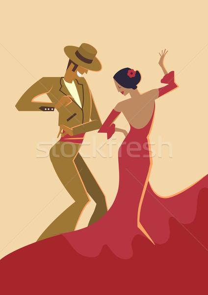 Spanyol flamenco táncosok poszter pár táncos Stock fotó © coolgraphic