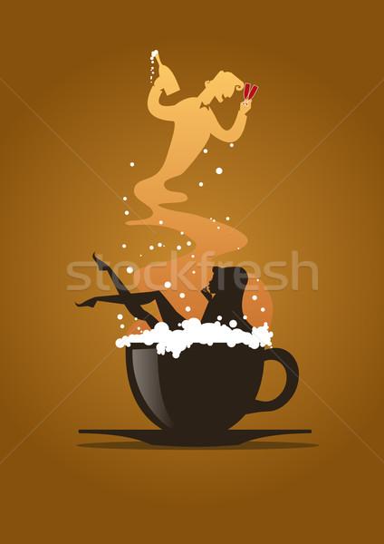 Cappucchino álom nő fürdőkád csésze felszolgált Stock fotó © coolgraphic