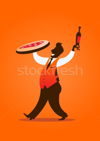 Pizza férfi sziluett illusztráció pincér hordoz Stock fotó © coolgraphic