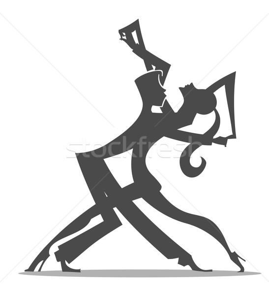 Tangó táncosok pár sziluett rajz Stock fotó © coolgraphic