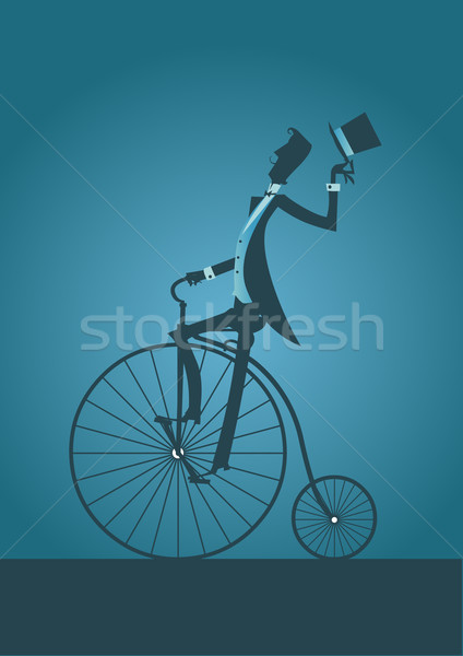 Old bicycle with Victorian Man Silhouette Stock photo © coolgraphic