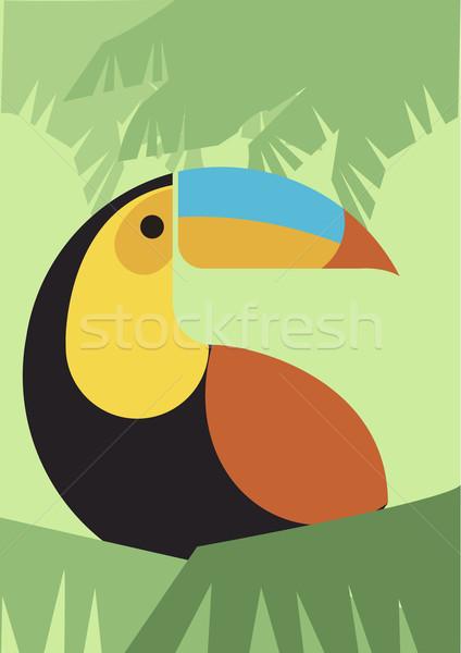Vogel retro illustratie vector retro-stijl Stockfoto © coolgraphic