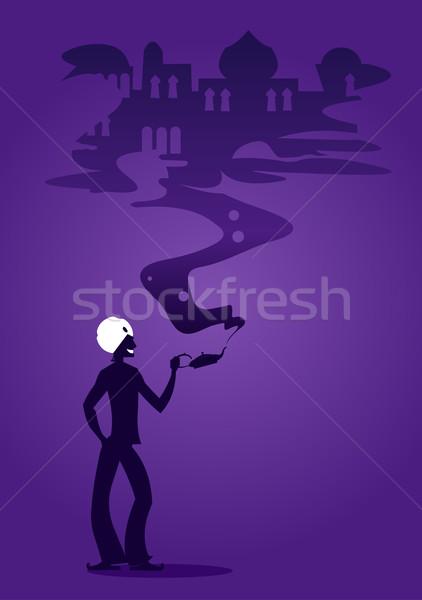 álom sziluett tart mágikus lámpa gőz Stock fotó © coolgraphic