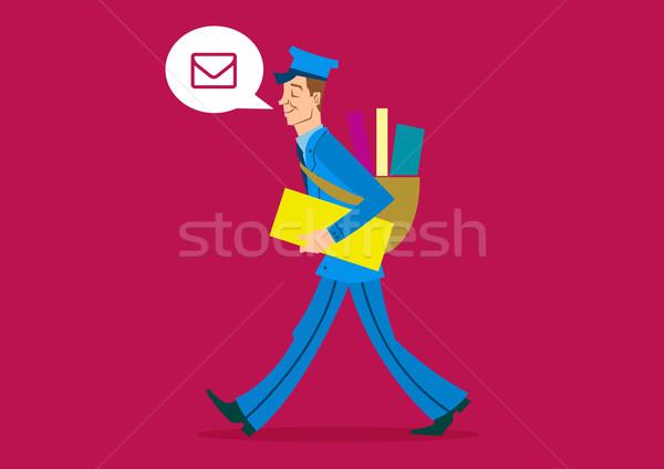 Postás rajz férfi művészet retro vektor Stock fotó © coolgraphic
