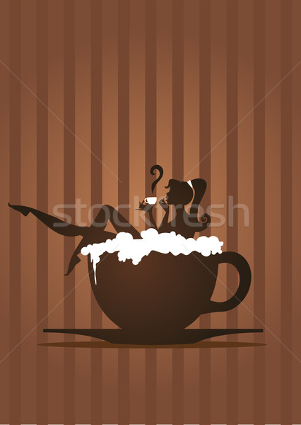 Cappuccino fille femme bain tasse potable Photo stock © coolgraphic