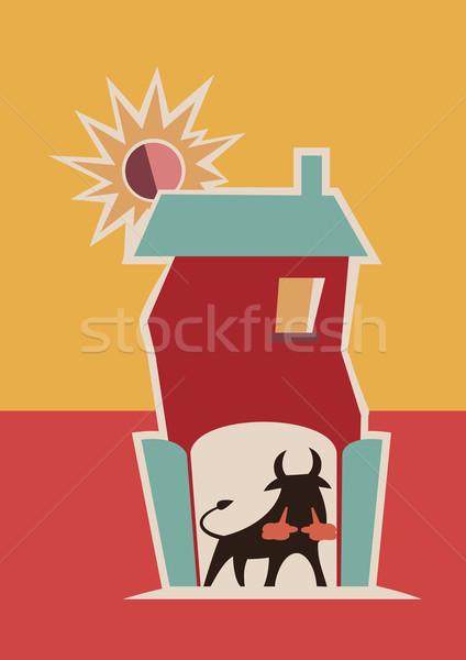 Spanyol bika illusztráció vektor logo művészet Stock fotó © coolgraphic