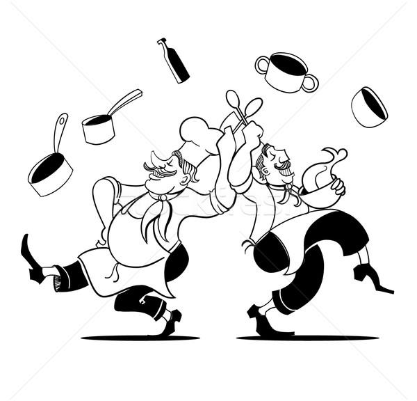 Szakács tánc kéz rajz retro Stock fotó © coolgraphic