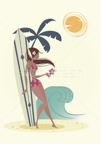 Retro szörf lány rajz stílus virágok Stock fotó © coolgraphic