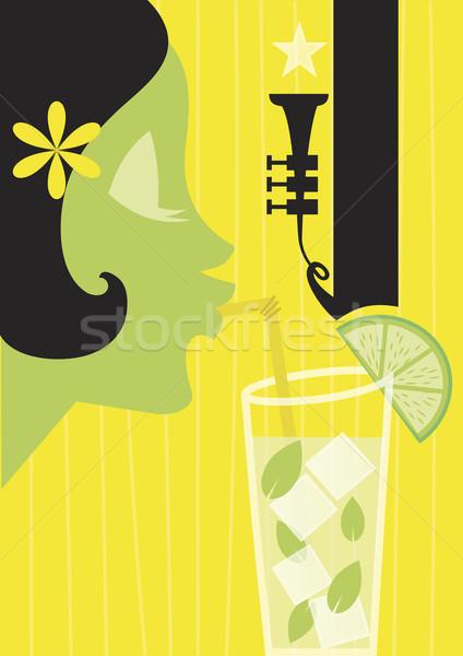 Mojito cocktail meisje poster zomer silhouet Stockfoto © coolgraphic