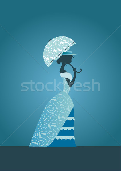 Photo stock: Dame · silhouette · élégante · robe
