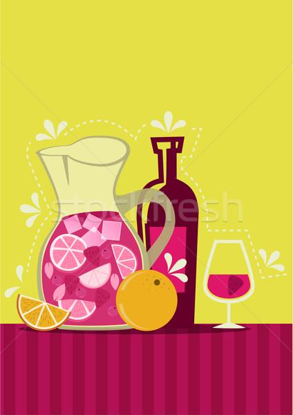 Spanyol étel művészet ital koktél retro Stock fotó © coolgraphic