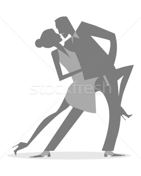 Tangó táncosok sziluettek pár előad lépés Stock fotó © coolgraphic