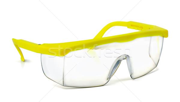 Biztonság védőszemüveg műanyag izolált fehér építkezés Stock fotó © coprid