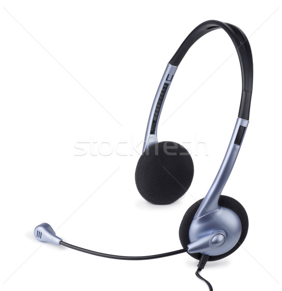 гарнитура синий микрофона изолированный белый бизнеса Сток-фото © coprid