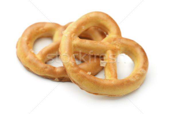 Сток-фото: крендельки · два · изолированный · белый · пива · хлеб