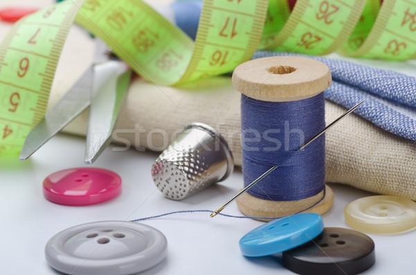 швейных фон искусства синий группа инструментом Сток-фото © coprid