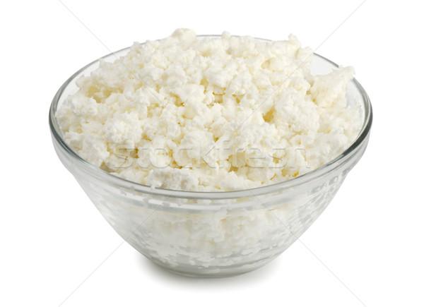 コテージチーズ ガラス ボウル 新鮮な 孤立した 白 ストックフォト © coprid