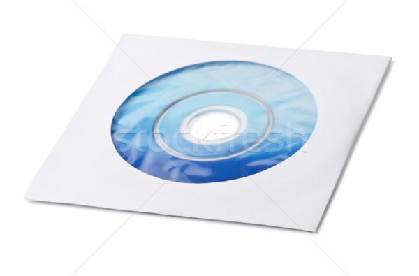 Instalacja płyta cd papieru kopercie odizolowany biały Zdjęcia stock © coprid
