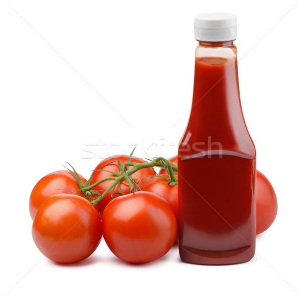 Ketchup bottiglia fresche pomodori isolato bianco Foto d'archivio © coprid