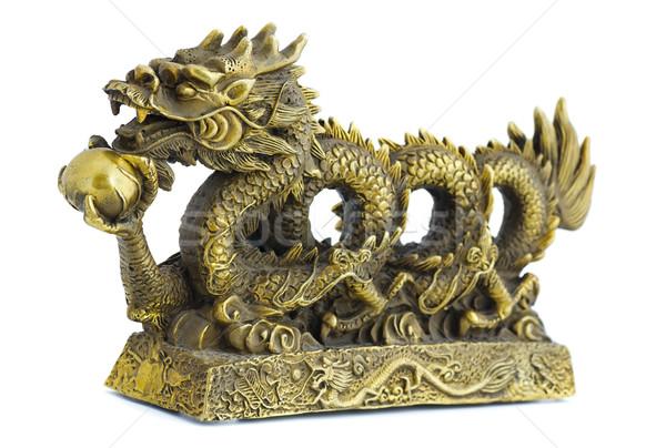 дракон бронзовый статуэтка Pearl изолированный белый Сток-фото © coprid