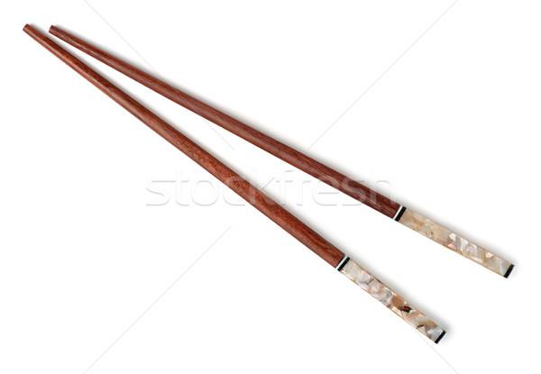 Evőpálcikák pár fából készült izolált fehér étel Stock fotó © coprid
