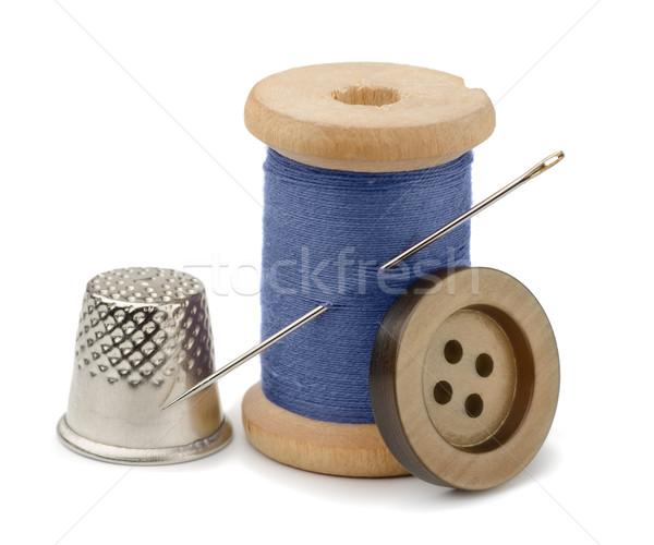 スレッド 針 指ぬき スプール 青 ボタン ストックフォト © coprid