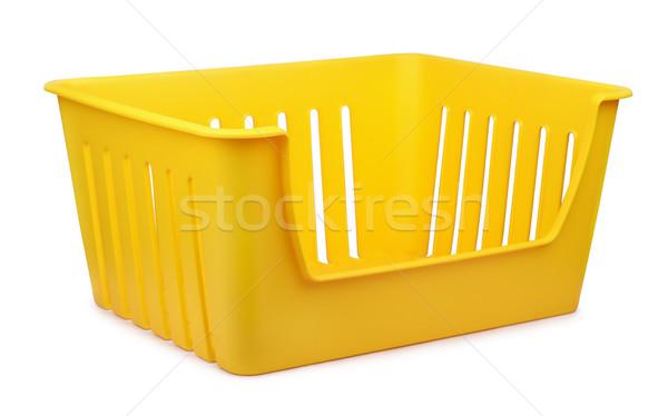 Stoccaggio contenitore giallo vuota plastica isolato Foto d'archivio © coprid