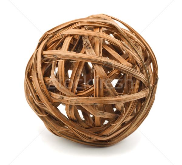 Osier sphère décoratif bois isolé blanche Photo stock © coprid