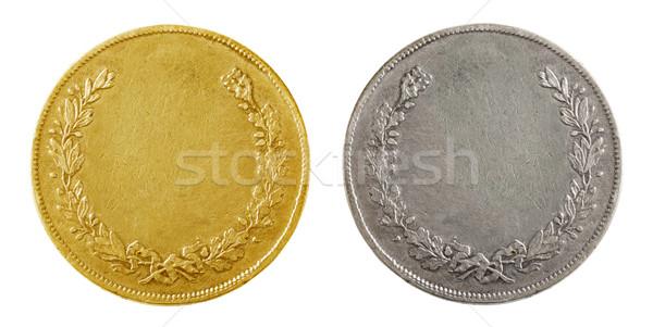 Сток-фото: старые · монетами · золото · серебро · изолированный · белый