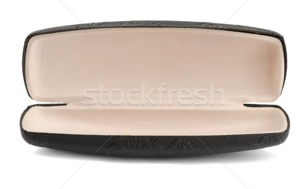Lunettes cas vide cuir isolé blanche Photo stock © coprid