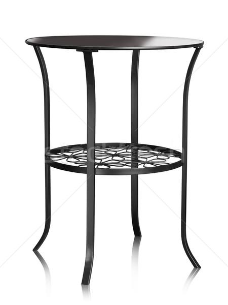 Сток-фото: стекла · таблице · кофейный · столик · металл · изолированный · белый