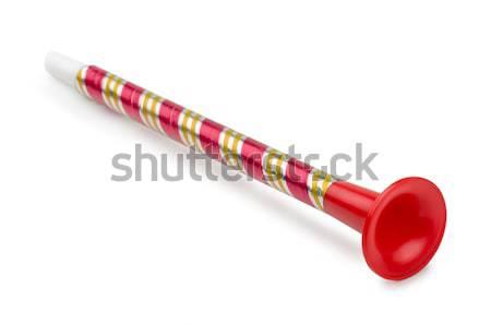 Játék duda piros műanyag izolált fehér Stock fotó © coprid