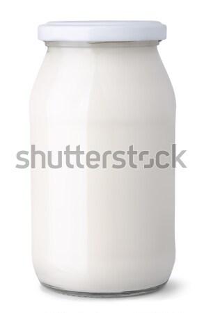 молочная банку стекла молоко кремом изолированный Сток-фото © coprid
